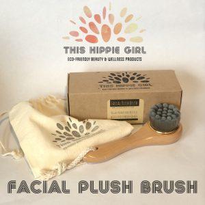 Facial Plush Brush – Vegan NanoFiber w/Wood Handle