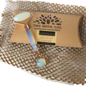 Gua Sha Opal Jade Roller w/Rose Gold Titanium Alloy Support